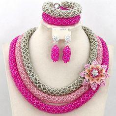 Jewelry Set - Metallic Silver African Beads Jewelry Set Nigerian Traditional Beads Jewelry