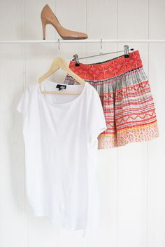 Hmong skirt + white tee