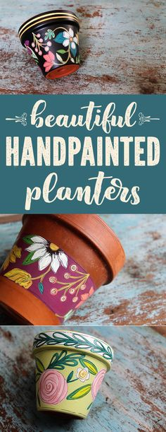 Beautiful hand painted planters for your spring flowers and succulents from The Painted Pine! Each pot is hand painted using acrylic paints and finished with several coats of an indoor/outdoor polyurethane varnish. Since each pot is sketched first and then painted by hand, please allow for slight variations in color and design. Each one is truly one of a kind and makes a lovely handmade gift. #oneofakind #planters #handpainted #mothersdaygift #gifts #hostessgift #gift #succulents #flowerpot…