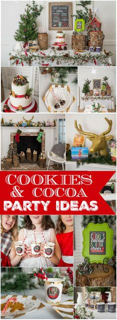 Love this rustic cookies and cocoa holiday party with a gift exchange! See more party ideas at CatchMyParty.com!