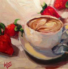 """A Latte Love"" - Original Fine Art for Sale - © Krista Eaton"