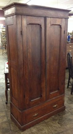 Antique+Wood+Armoire+W/+Double+Doors+u0026+Key