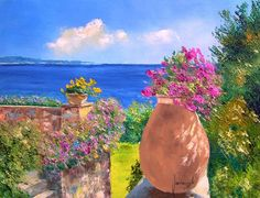 Descent to the garden of the sea cm, seascape painting by Jean Marc Janiaczyk Seascape Paintings, Landscape Paintings, Art Paintings, Blooming Flowers, Pretty Art, French Artists, Handmade Art, Painting Inspiration, Amazing Art
