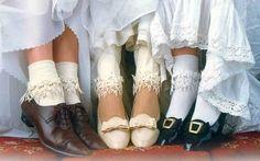 Venetian lace trimmed socks.