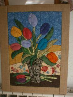 técnica sin aguja, tulipanes. patchwork