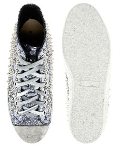 Enlarge Gienchi Silver Glitter High Top Sneakers