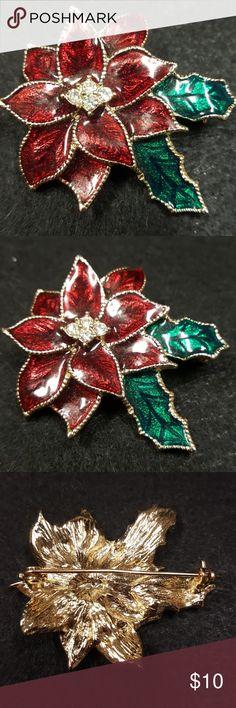 Vntg Poinsettia Brooch Red Enamel Rhinestone Vntg Poinsettia Brooch Red Enamel Rhinestone. Vintage Jewelry Brooches