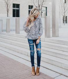 floral blouse + distressed denim spring ootd idea