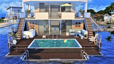 Sims 4 Modern House, Sims 4 House Design, Sims 4 House Plans, Chic Beach House, Casas The Sims 4, Sims Building, Model House Plan, Sims 4 Build, Island Life