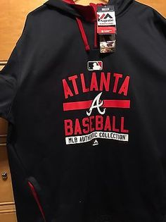 f551a5ef5bd Mejestic Authentic MLB Collection Atlanta Braves Qtr Zip Hoodie XL NEW