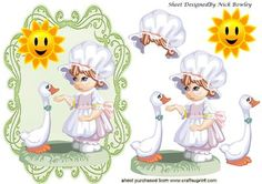 Little maid with her duck and sunshine on Craftsuprint - Add To Basket!