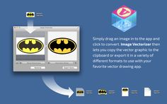 Simply drag an image in to the app and click to convert. Image Vectorizer then lets you copy the vector graphic to the clipboard or export it in a variety of different formats to use with your favorite vector drawing app.