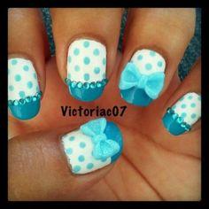 Blue Bows and Polka Dots #blue #bows #polka #dot #manicure #pedicure #fingernail #finger #nail #polish #lacquer #paint