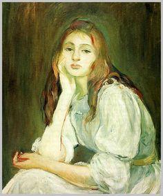 Berthe Morisot, Julie Daydreaming, 1894 Julie Manet – the Beauty of Impressionism Edouard Manet, Pierre Auguste Renoir, Julie Manet, Women Artist, French Impressionist Painters, Berthe Morisot, Mary Cassatt, French Artists, Figurative Art