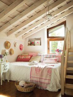 Attic cottage girls bedroom.