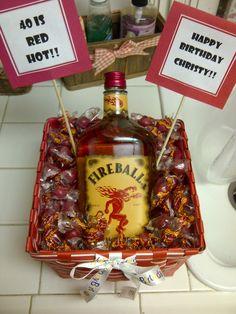 40 is Red Hot! Fireball Cinnamon Whiskey with Atomic Fireballs 40th Birthday Parties, Birthday Diy, Birthday Celebration, Alcohol Gift Baskets, Alcohol Gifts, 40th Party Ideas, 50th Party, Fireball Whiskey, Fireball Drinks