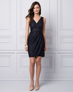 Lace V-Neck Cocktail Dress - Go for an effortlessly elegant look at your next event in this lace cocktail dress , designed with an alluring with wrap-like silhouette. V Neck Cocktail Dress, Lace Wrap, Point Lace, Stretch Lace, All About Fashion, Gowns, Elegant, Formal Dresses, Clothes