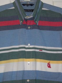 7c6719b7dccba Details about Vtg NAUTICA Blue Green Red Colorblock Striped Sailboat Logo  Cotton SHIRT~L XL