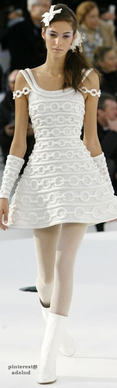 Chanel ~ Couture White Embroidered Mini Dress