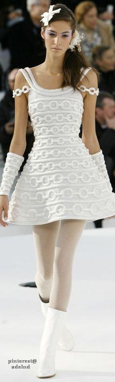 Chanel ~ Couture White Embroidered Mini Dress