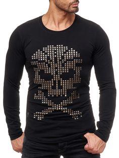 2979d849624b Red Bridge Herren Rivets Skull Motiv Pullover Sweatshirt Longsleeve Schwarz   skull  totenkopf  Muster