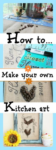 How to make your own #burlap kitchen art with coffee beans and a #sharpie