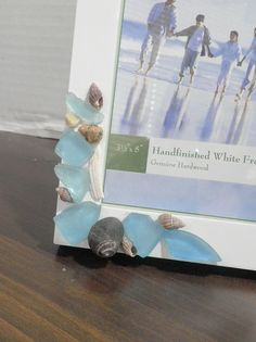 sea shell and sea glass photo frame