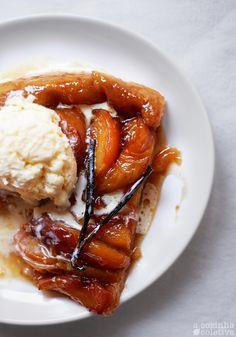 Butterscotch peach tatin
