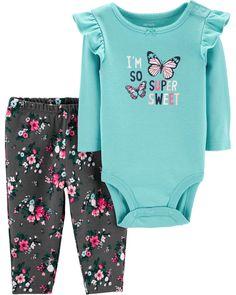 Carter/'s NWT 6M Infant Girl Floral Tropical Top Pant Legging Set $24