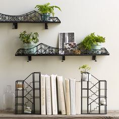 Suspension Bridge Shelf from UncommonGoods. Shop more products from UncommonGoods on Wanelo. Metal Shelves, Wall Shelves, Shelving, Home Decor Online, Cheap Home Decor, Diy Home Decor, Decor Crafts, Fire Escape Shelf, Shelf Design