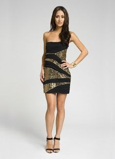 "Robert Rodriguez Vintage Gold Sequin Cocktail Dress from Episode 301 ""It's Handled."""