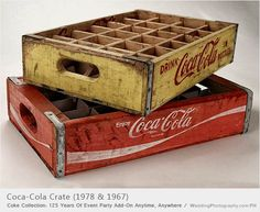 Wooden crates with the Coca-Cola logo were used to deliver 24 bottles from the bottling plant to the vendor.