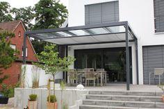Terrassendach als Flachdach mit Glas