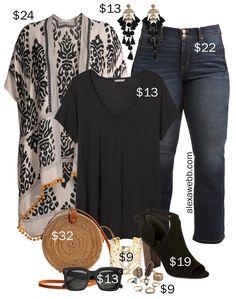 Plus Size on a Budget – Kimono - Alexa Webb Plus Size on a Budget – Kimono Outfit with black t-shirt, bootcut jeans, rattan straw bag, boho accessories and statement earrings - Alexa Webb Curvy Fashion, Look Fashion, Fashion Outfits, Plus Fashion, Womens Fashion, Fashion Tips, Petite Fashion, Fashion Bloggers, Fall Fashion