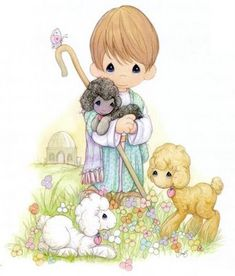 Precious Moments~Little Shepherd with his Flock Precious Moments Quotes, Precious Moments Coloring Pages, Precious Moments Figurines, Crochet Humor, My Precious, Cute Art, Cute Kids, Cute Pictures, Comic Pictures