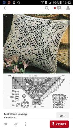 Crochet Pillow Cases, Crochet Cushion Cover, Crochet Pillow Pattern, Crochet Cushions, Crochet Doily Patterns, Crochet Tablecloth, Crochet Doilies, Filet Crochet, Crochet Lace Edging
