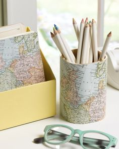 Lots of cute back to school craft ideas using decoupage