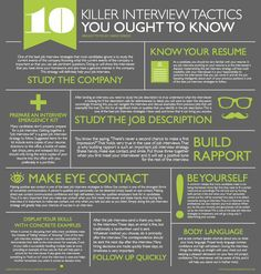 infographic 10 Killer Interview Tactics You Ought to Know Job interviews can be a mystery. Image Description 10 Killer Interview Tactics You Ought to Job Interview Preparation, Interview Skills, Job Interview Questions, Job Interview Tips, Job Interviews, Preparing For An Interview, Interview Tips Weaknesses, Situational Interview Questions, Interview Nerves