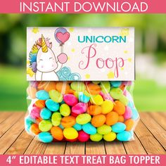 Unicorn Party Treat Bag Topper -Unicorn Birthday,Rainbow Birthday,Magical Party, Self-Editing Birthday Party Treats, 4th Birthday Parties, Birthday Party Decorations, 5th Birthday, Princess Birthday, Birthday Ideas, Rainbow Unicorn Party, Rainbow Birthday Party, Rainbow Bag