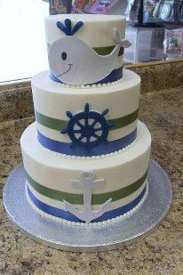 Nautical theme baby cake. Whale, anchor and helm made with fondant. Buttercream icing used.
