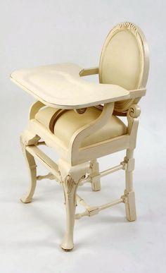 Distressed Ivory Finish - Ivory Vinyl   cute highchair! LOVE IT!!!