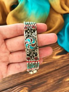 Nepali Work Coral Brass Metal Cuff//Bracelet Free Size Handmade Jewelry Blue Turquoise