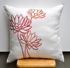 Water Lily Cushion Cover, Decorative Throw Pillow Cover, Beige linen orange flower Pillow, Embroidered Pillow Cover 18 x 18, Pillow Accent. $23.00, via Etsy.