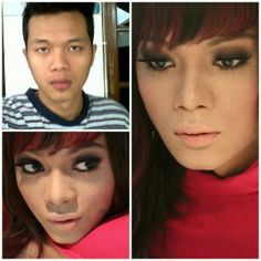 Before and after makeup. Man transform to female.