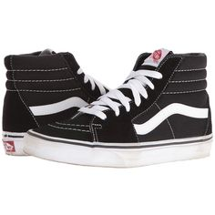 Vans SK8-Hi Core Classics (Black/White) Shoes (205 BRL) ❤ liked on Polyvore featuring shoes, sneakers, vans, white and black high tops, high top shoes, hi tops, white and black sneakers and grip trainer