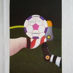 Fussball Original Artist Poster 1970 – Art & Vintage Store Ltd Museum Poster, Creative Poster Design, Original Vintage, Football Design, Beautiful Posters, Exhibition Poster, Vintage Posters, Screen Printing, Fine Art Prints