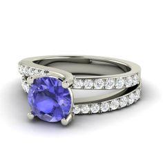 Engagement Tanzanite Ring Elegant 14K Gold Tanzanite by Diamondere, $1432.00