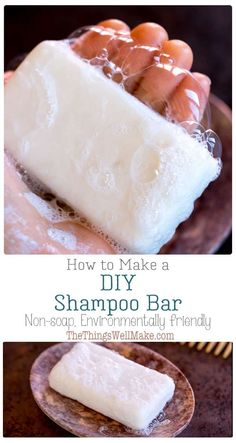 An eco-friendly alternative to liquid shampoos, solid shampoo bars provide a great lather and are perfect for traveling because they don't need any plastic or one-use packaging. This shampoo bar recipe is a non-soap shampoo bar that is formulated to be at Diy Shampoo, How To Make Shampoo, Homemade Shampoo, Solid Shampoo, Natural Shampoo, Shampoo Bar, Homemade Conditioner, Lush Shampoo, Homemade Facials