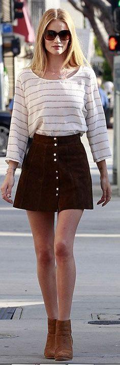 Rosie Huntington-Whiteley: Sunglasses – Chanel  Jewelry – Jacquie Aiche  Shirt – Joie  Shoes – Rag & Bone