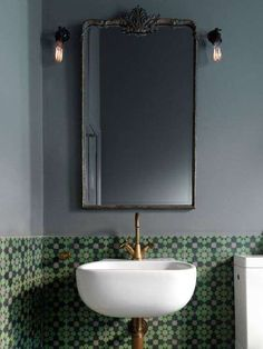A powder room is just a rather more fancy way of referring to a bathroom or toilet room. Just like in the case of a regular bathroom, the powder room may present different challenges related to its interior design and… Continue Reading → Pool House, Lighted Bathroom Mirror, Bathroom Design Trends, Bathroom Mirror, Amazing Bathrooms, Bathroom Tile Designs, Bathrooms Remodel, Bathroom Decor, Mirror